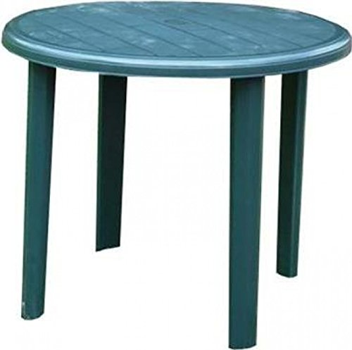 Home Hardware Outdoor Barbados Resin Plastic Round Garden Table in Green | 90cm