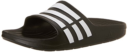 adidas Performance Kids' Duramo Slide Sandal (Toddler/Little Kid/Big Kid),Black/Running White/Black,4 M US Big Kid (Kids Slide Shoes)