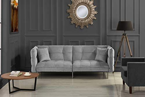 DIVANO ROMA FURNITURE Collection - Modern Plush Tufted Velvet Fabric Splitback Living Room Sleeper Futon (Light Grey) (Bedroom Frame Modern Futon)
