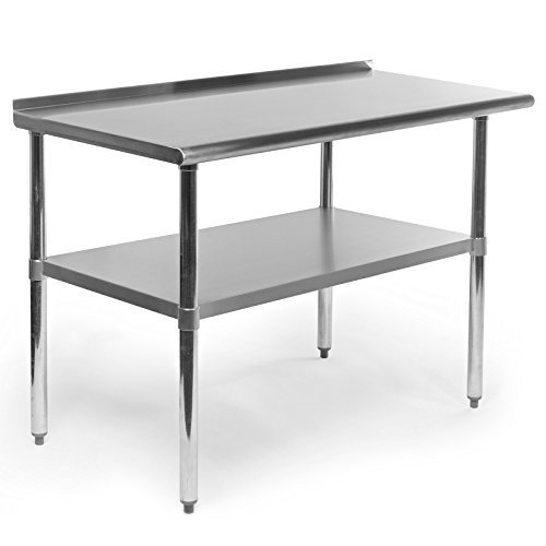 Gridmann Stainless Steel Commercial Kitchen Prep & Work Table with Backsplash, 48 x 24 Inches Commercial Stainless Steel Table