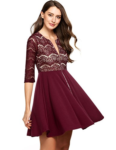 Sleeve Form (Beyove Women's Floral Lace Half Sleeve Bodycon Dress Vintage Patchwork Dress Red_XL)