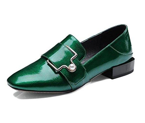 Scarpe Punta Pelle Fibbia Cintura green donna mocassini Quadrata da genuino Ufficio 36To41 Retro Taglia 0Yqr0tw