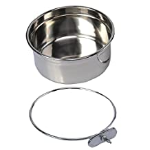 Pet Dog Stainless Steel Coop Cups with Clamp Holder - Detached Dog Cat Cage Kennel Hanging Bowl,Metal Food Water Feeder for Small Animal Ferret Rabbit (Large)
