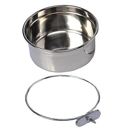 (Pet Dog Stainless Steel Coop Cups with Clamp Holder - Detached Dog Cat Cage Kennel Hanging Bowl,Metal Food Water Feeder for Small Animal Ferret Rabbit (Large))