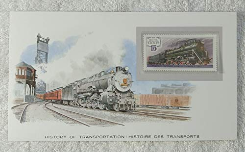 The Steam Locomotive - Postage Stamp (Soviet Union/USSR, 1979) & Art Panel - The History of Transportation - Franklin Mint (Limited Edition, 1986) - Railroad, Train