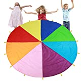 TMISHION Parachute, Children Fames Kindergarten Early Education Toy for Parties Sports Activities Group Outdoor Exercise, 3m 3.6m 6m(6M)