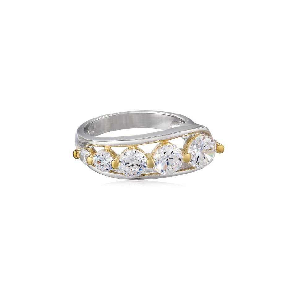 18k Yellow Gold Plated Sterling Silver Two Tone Cubic Zirconia Journey Ring (2.25 cttw), Size 7