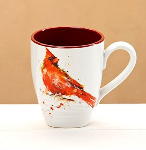 Big Sky Carvers Cardinal Mug - Featuring Artwork by Oregon Watercolor Painter Dean Crouser - Glazed Stoneware with Pure White Background - Holds 16 Ounces by Dean Crouser Collection