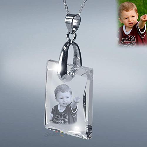 Beveled Edge Crystal Award - Laser Photo Crystal Etching Pendant with Silver Chain, with Custom Picture in Galss by Goodcount- SH19