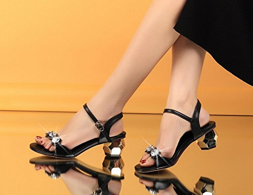 Foot Womens Charm Black Buckle Toe Fashion Mid Sandals Open Heel d5dqpwrS