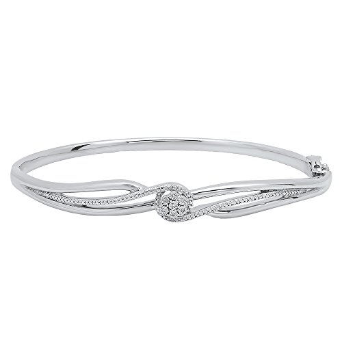 0.04 Carat (ctw) Sterling Silver Round Cut White Diamond Ladies Twisted Bangle Bracelet