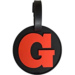 Luggage Tag Initial Letter Bag Tag Alphabet 3-D Personalized Reinforced Bendable Heavy Duty ID Tag W/Identity Protection (G (red))
