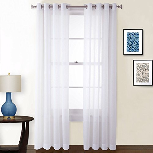 White Curtains 95 inches Long - Window Treatment Crushed Voile Sheer Curtains With Grommet Top for Patio / Villa / Parlor by NICETOWN (Set of 2, 52 Wide x 95 inch Long, White) (Sheer Voile Solid Window)