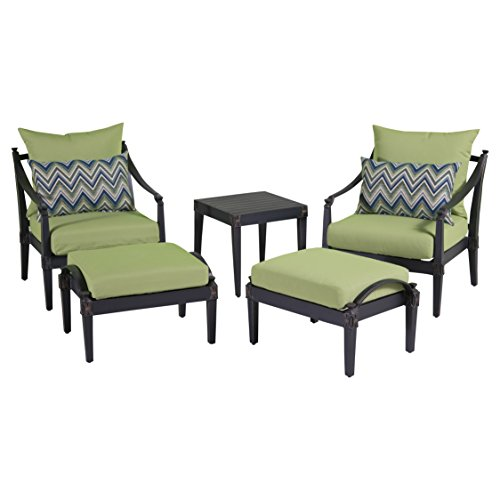 RST Brands Astoria 5-Piece Club Chair and Ottoman Set with Cushions, Ginkgo Green Aluminum 5 Piece Club Chair