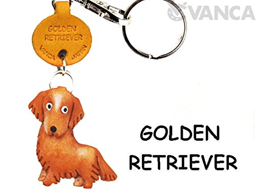 Dog Leather House (Golden Retriever Leather Dog Small Keychain VANCA CRAFT-Collectible Keyring Charm Pendant Made in Japan)