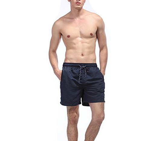 (Fashion-Lover-swimwear Beach Pants Men Casual Shorts and Quick-Drying Sports Pant,Navy Blue,L)