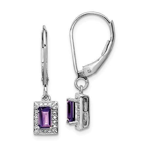 - 925 Sterling Silver Purple Amethyst Diamond Leverback Earrings Lever Back Drop Dangle Fine Jewelry For Women Gift Set