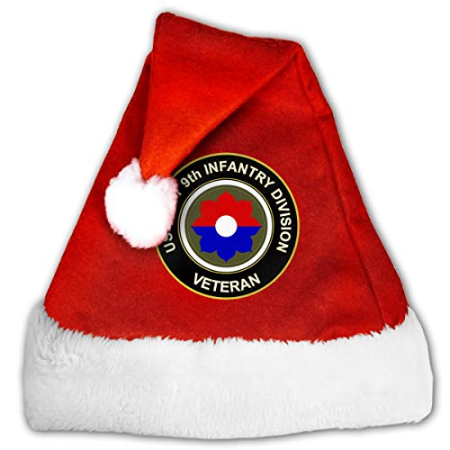 US Army Veteran 9th Infantry Division Christmas Santa Hat for Adult & Children