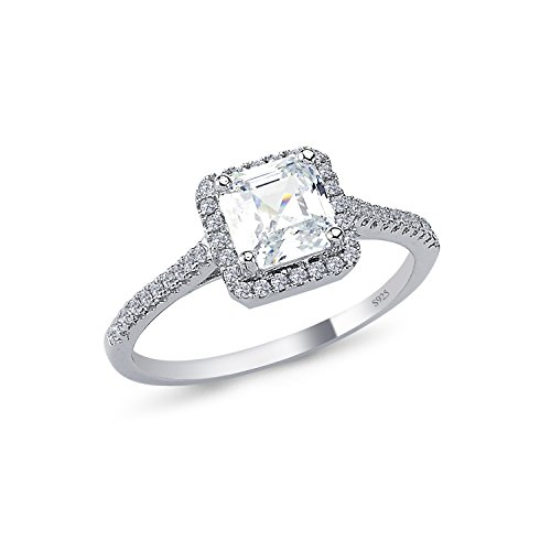 925 Solid Sterling Silver 7mm Cushion Halo AAAAA+ Gem Grade Quality ASSCHER Cut Total 1 CARAT Bridal Sets Anniversary Promise Engagement Wedding CZ Ring Comfort Fit and Rhodium Plated