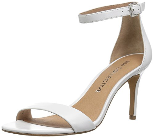 - 206 Collective Women's Anamarie Stiletto Heel Dress Sandal-High Heeled, White Leather, 8.5 B US