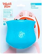 West Paw Zogoflex Toppl Interactive Treat Dispensing Dog Puzzle Play Toy, 100% Guaranteed Tough, It Floats!, Made in USA, Large, Aqua