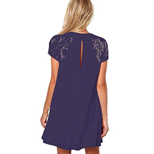 YunJey Women's Short Sleeve Keyhole Back Lace Shift Dress