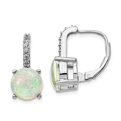 925 Sterling Silver Rhod Plated Cubic Zirconia Cz Created Opal Leverback Earrings Lever Back Drop Dangle Gemstone Fine Jewelry Gifts For Women For Her