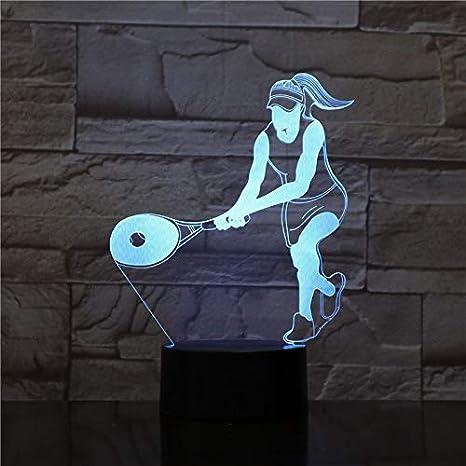 3D Lámpara de Escritorio Raqueta de tenis 16 colores LED Touch ...