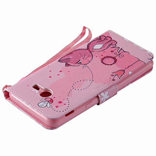 Yiizy Samsung Galaxy J5 (2017) Case, Coño De Color Rosa Diseño Solapa Flip Billetera Carcasa Tapa Estuches Premium PU Cuero Cover Cáscara Bumper Protector Slim Piel Shell Case Stand Ranura para Tarjet