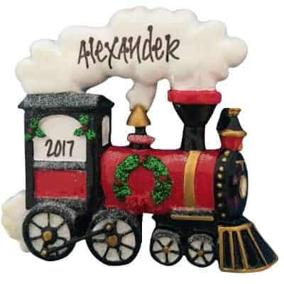 Holiday Train Personalized Ornament - (Unique Christmas Tree Ornament - Classic Decor for A Holiday Party - Custom Decorations for Family Kids Baby Military Sports Or Pets)