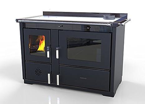 Hosseven, estufa de cocina canalizable LOTUS HYDRO kW 31, bio clase eficiencia energética A+ eco calefacción y bioclimatismo sostenible, color negro: ...