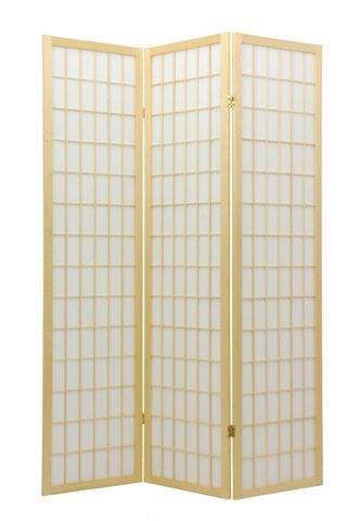 ORIENTAL FURNITURE 6 ft. Tall Window Pane Shoji Screen - Natural - 3 Panels