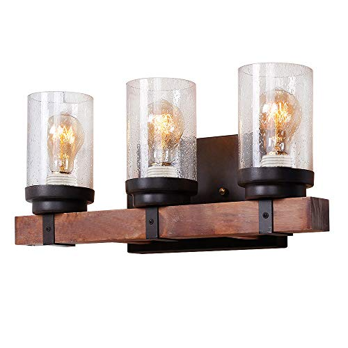 - Anmytek Wall Lamp Wooden Wall Light Wall Sconce Fixture with Bubble Glass Shade (Three Lights)