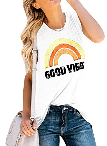 - Imily Bela Womens Summer Graphic Tops Funny Juniors Tank Shirt Good Vibes Street Tees (Small, White)