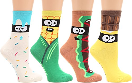 MIRMARU Women's 4 Pairs Famous Painting Art Printed Funny Novelty Casual Cotton Crew Socks. (OD-W-055) by MIRMARU