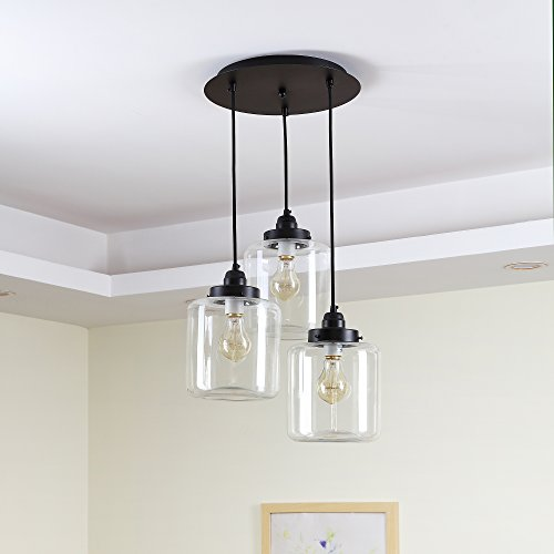 (Liinmall Modern Ceiling Light Pendant Lamps Glass Shape 3-Light Cluster Pendant Light Downlight Electroplated Metal Glass Mini Style 110-120V Bulb Included / E26 / E27 Bulb Indluded)
