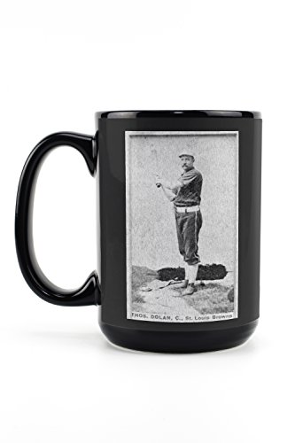 - St. Louis Browns - Thos. Dolan - Baseball Card (15oz Black Ceramic Mug - Dishwasher and Microwave Safe)