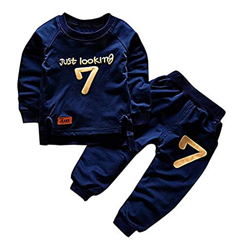 puseky Toddler Baby Boys Girls Sweatshirt Tops+Pants Tracksuits Outfits Clothes (2T-3T)