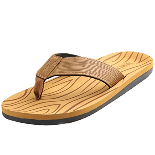 Baymate Men's Casual Beach Flat Flip Flops Breathable Sandals Yellow NQm9V