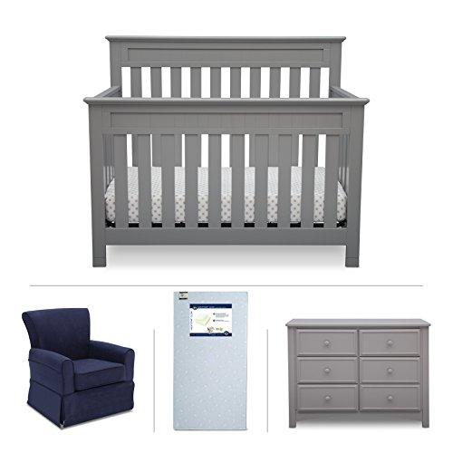 Delta Children Chalet 4-Piece Mix & Match Nursery Furniture Set (Convertible Crib, Dresser, Glider, Crib Mattress), Grey from Delta Children