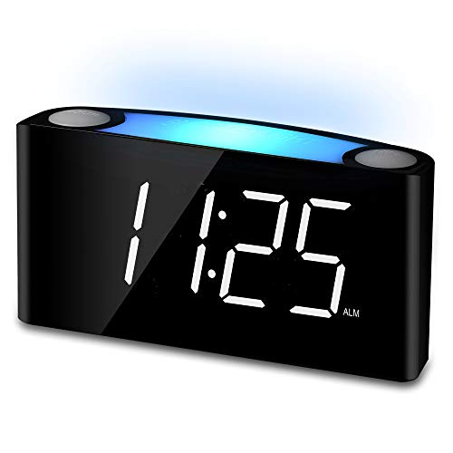 Mesqool Alarm Clock 12/24 Hours, 7-Color Night Light, 7
