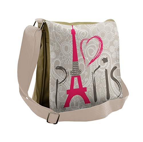 Lunarable Eiffel Tower Messenger Bag, I Love Paris Lettering, Unisex Cross-body - Paris Cross Body