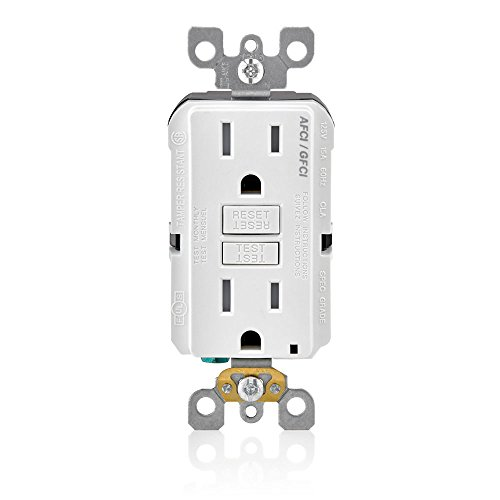 Leviton AGTR1-W SmartlockPro Dual Function AFCI/GFCI Receptacle, 15 Amp/125V, White ()