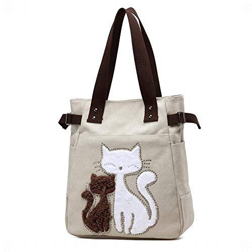 sac Beige de campus sac à à Kai Hung dame chat modèle mignon vent toile bandoulière main zEZwTpxw