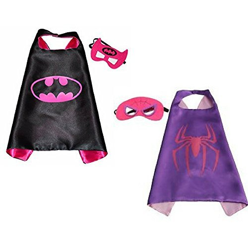 Honey Badger Brands Dress up Comics Cartoon Superhero Costume with Satin Cape and Matching Felt Mask (Batgirl + Spidergirl)