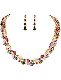 Full Zircon Party Layer Tear Drop Necklace Earrings Set