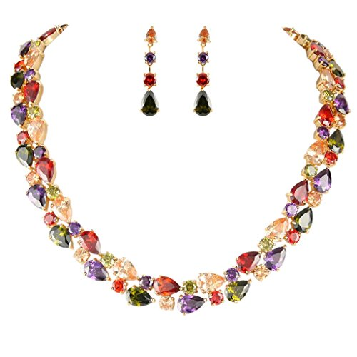 EVER-FAITH-Gold-Tone-Zircon-Party-Double-Layers-Tear-Drop-Necklace-Earrings-Set-Multicolor