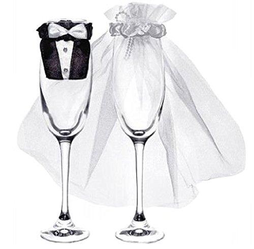 Glas-Kleidung Brautpaar für Champagnergläser, 1 Paar