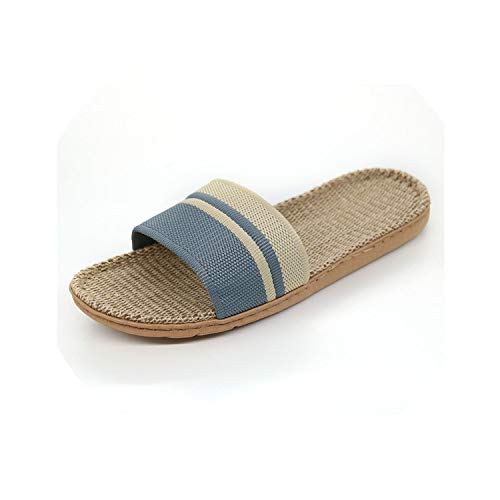 - Moon-mystery Men Linen Slippers Stripe Hemp Flip Flops Flat Non-Slip Sandals Home Slippers Male,Light Grey,7