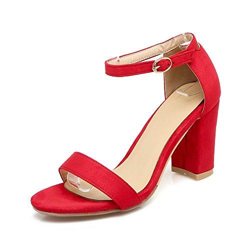 Alla Sandali del rosso Caviglia di amp;X Peep Toe Le Donne Cinturino Talloni Blocco QIN w4v7ZfWq